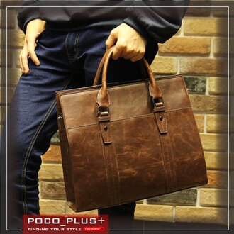 PocoPlus 復古公事包 棕色 瘋馬皮紋 醫生包 手提包硬挺公文包 電腦包 【B511】