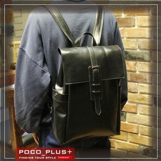 PocoPlus 休閒款後背包 大容量 皮帶 復古雙肩包 旅行包 電腦包 韓版潮流包【B522】