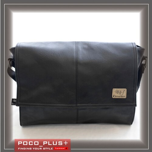 PocoPlus 韓版潮流 翻蓋男包 斜背包 PU平滑質感 休閒包【B585】