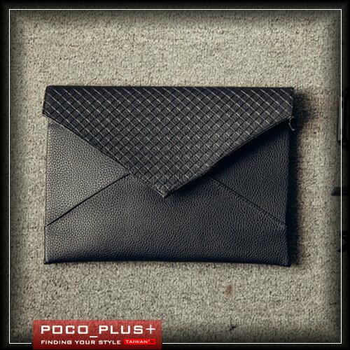 PocoPlus 正韓直達信封包 編織信封包 拼接款 贈送包款手環 李敏鋯 明星款手拿包【B398】