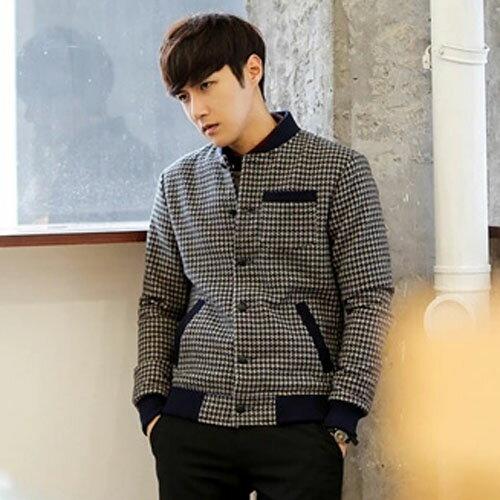 PoCo 韓式風格 韓系外套  千鳥格紋外套 春季款 潮男夾克 歐巴的低調穿著【C139】