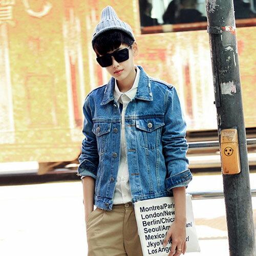 PoCo 韓式風格 韓系修身薄款休閒牛仔外套 水洗 潮男 顯瘦款 引領街頭潮流~C145~