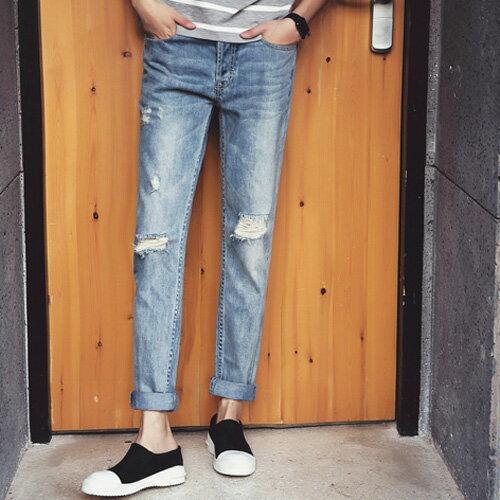 ~全店399 ~PocoPlus 淺色單寧 破壞 刷舊 抓破 韓式風格 作風修身牛仔褲 M