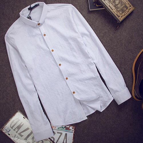 PocoPlus 韓式風格 韓版長袖襯衫 時尚簡約 棉質繡花襯衫 文藝英倫風 都敏俊的好朋友 ST115