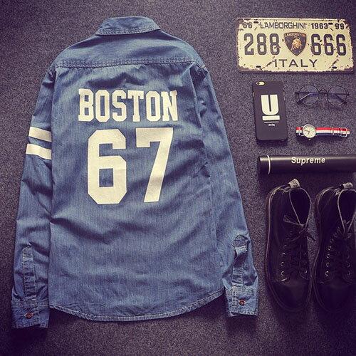 PocoPlus 韓式風格 長袖襯衫 牛仔數字襯衫 文藝英倫風 波士頓67 ST200