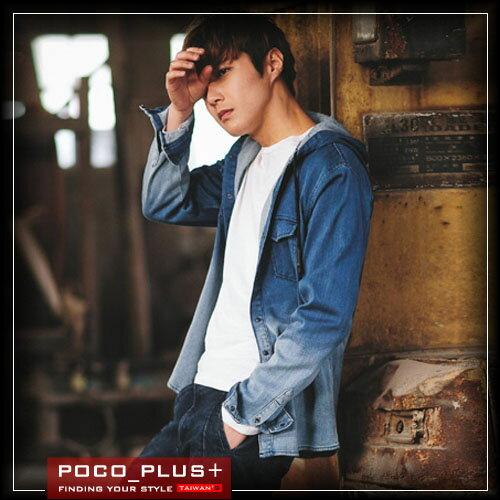 PocoPlus 韓式風格 韓版長袖牛仔連帽襯衫 時尚潮流修身 個性潮男引領街頭時尚 ST270