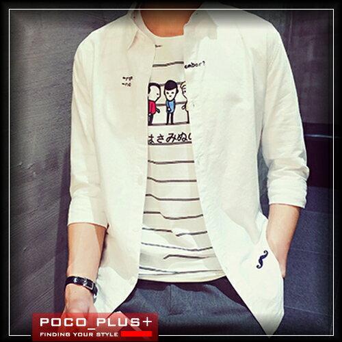 PocoPlus 韓式作風 韓版修身日系刺繡七分袖襯衫 清新休閒襯衫? ST289
