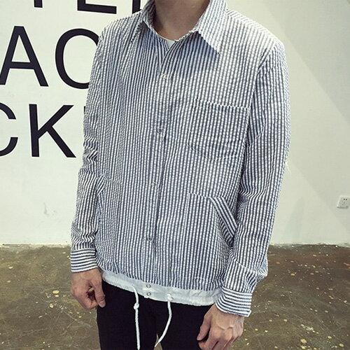 PocoPlus 韓式作風 韓版修身日系藍白條紋長袖襯衫 清新休閒襯衫 ST291