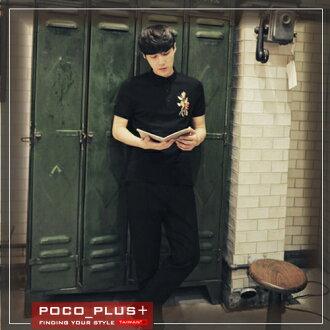 PocoPlus 夏季新款 男純色POLO杉 時尚修身 刺繡休閒潮牌T恤 T544