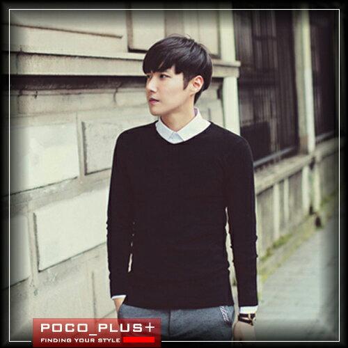 PocoPlus 作風 韓式風格 V領套頭素色 針織衫 修身免燙休閒毛衣 SC007