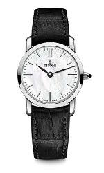 TITONI瑞士梅花錶纖薄系列TQ42918S-ST-587簡約金屬大理石紋時尚腕錶/銀24mm