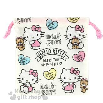 〔小禮堂〕Hello Kitty 日製束口袋《S.多動作.小熊.愛心.LOGO》