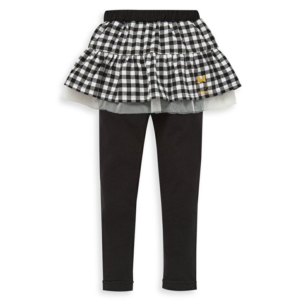 Disney 米妮系列格紋假二件褲裙-黑色(好窩生活節) - 限時優惠好康折扣