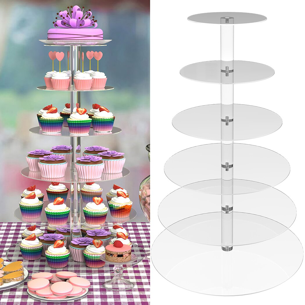6 Tier Acrylic Round Transparent Cake Stand For Wedding Party Birthday Display 3