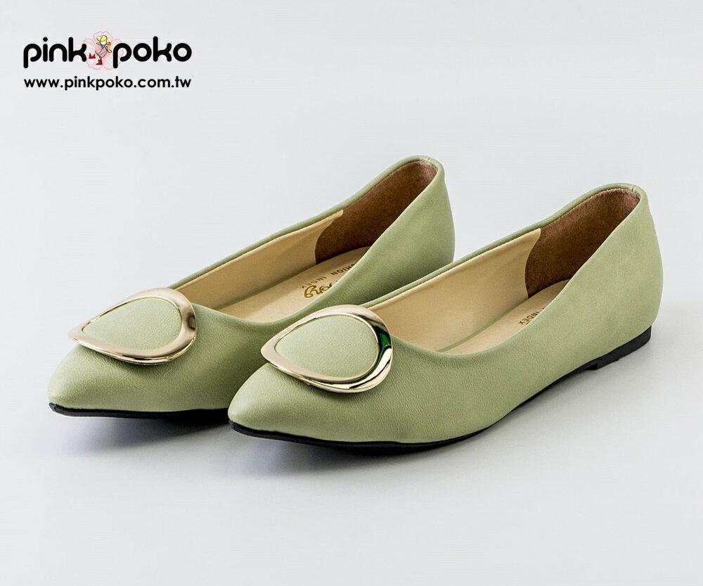 包鞋☆PINKPOKO粉紅波可☆氣質素色金屬圓扣尖頭低跟鞋~2色#1166