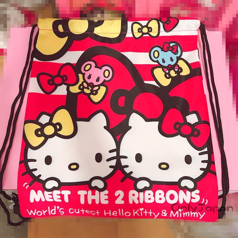 【真愛日本】18022600024 束口提袋後背袋-KT姊妹條紋 三麗鷗 kitty 凱蒂貓 手提袋 束口後背包