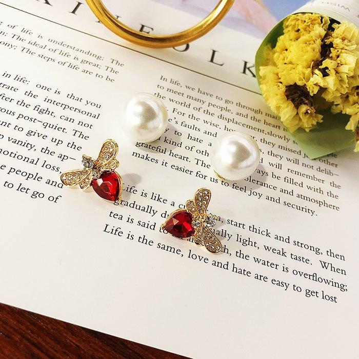 耳環 個性 愛心 鑲鑽 珍珠 甜美 氣質 雙面 耳釘 耳環【DD1812021】 BOBI  03 / 07 4