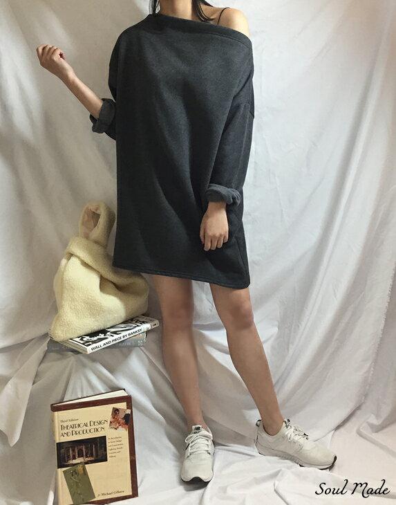 Soul Made - 韓製 平領內刷毛側口袋長版衣 4色 1