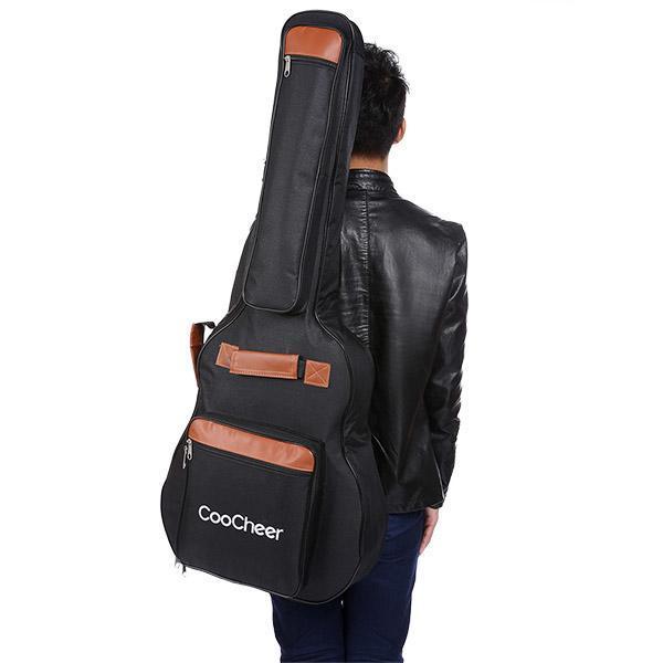 600D Oxford Acoustic Guitar Bag 5-Pocket Padded Gig Bag with Guitar Strap and 12 Pick Samplers 4