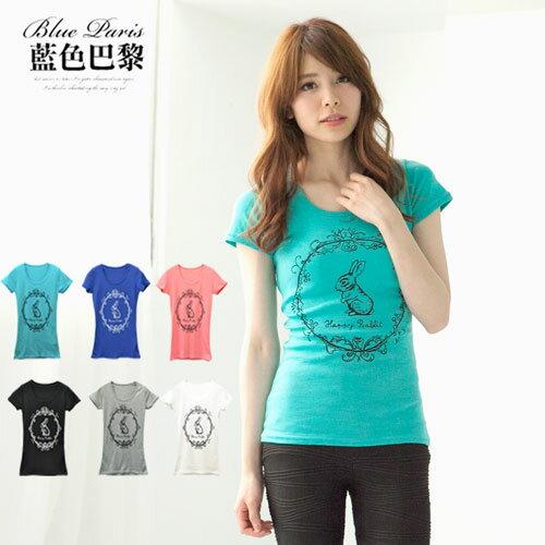 上衣 - 圓領短袖可愛兔T恤【23002】藍色巴黎 《6色》現貨 MIT - 限時優惠好康折扣