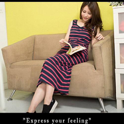 無袖洋裝 - 混色橫條背心長洋裝【11901-A】藍色巴黎《3色》現貨 1