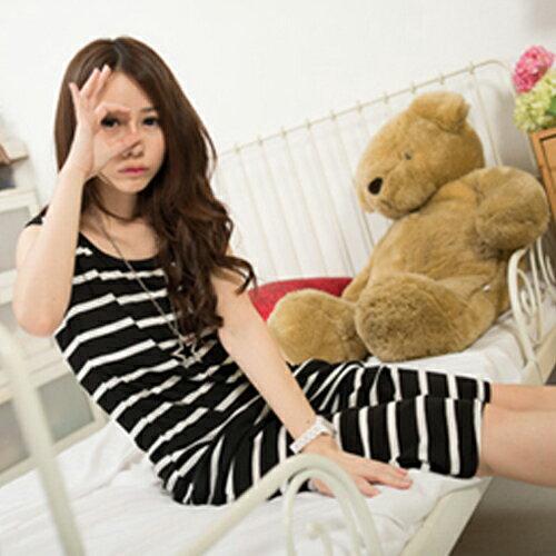 無袖洋裝 - 混色橫條背心長洋裝【11901-A】藍色巴黎《3色》現貨 2