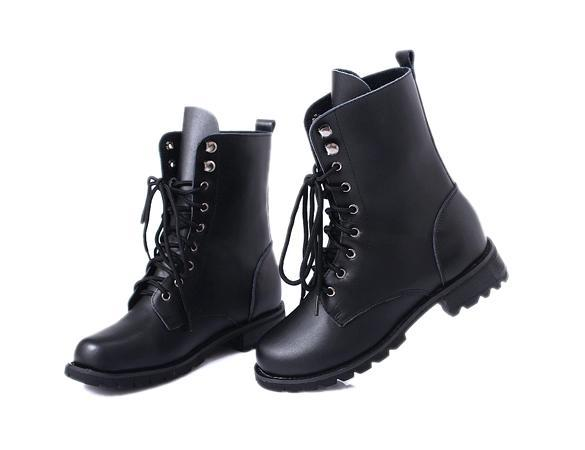 Women PUNK Military Army Knight Lace-up Short Boots Shoes 2