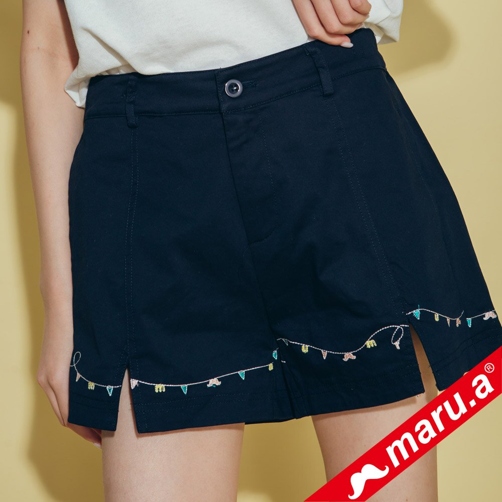 【maru.a】迷你刺繡開口短褲 8315114 5