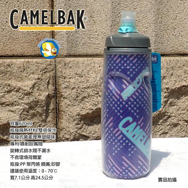 Camelbak 620ml Podium 雙倍保冷 噴射水瓶 長春花紫;蝴蝶魚戶外