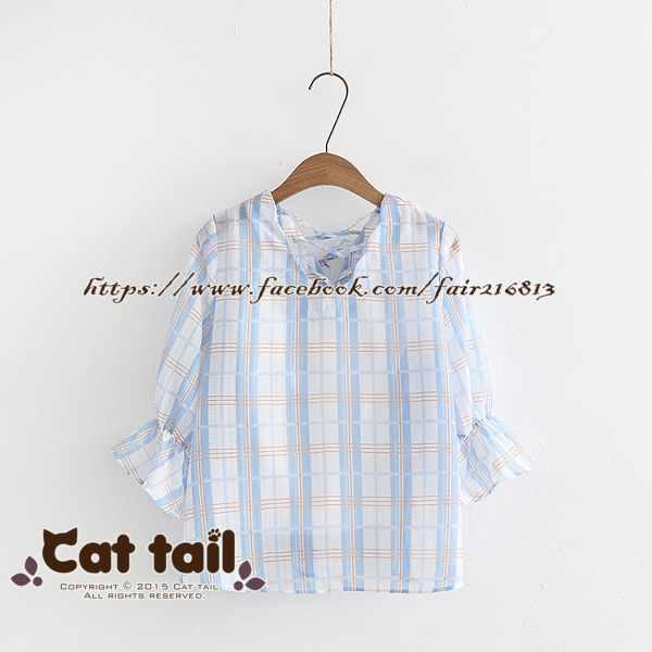 《貓尾巴》TS-0738文藝格子條紋短袖上衣(森林系日系棉麻文青清新)