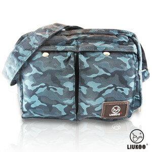 LIUKOO戰地叢林彩系列 ~ 雙口袋 防潑水中容量側背包 ~~沉穩藍~