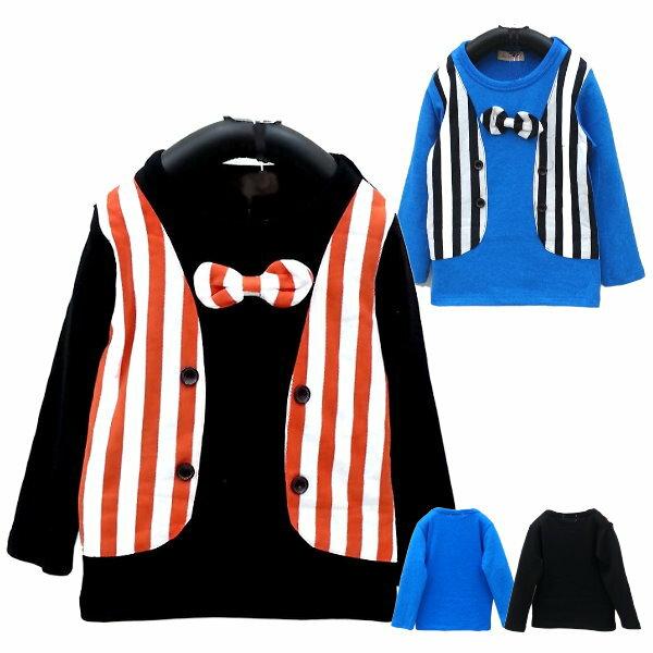 ~班比納 ~彈力內磨毛領結直條紋假背心上衣~黑  藍~兩色 ~BM150820030  B
