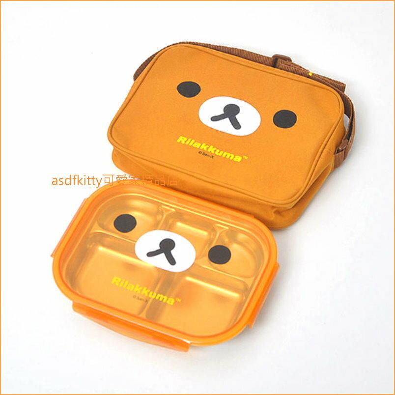 asdfkitty可愛家☆san-x拉拉熊大臉樂扣型有蓋304不鏽鋼餐盤便當盒-附外出背袋-韓國製