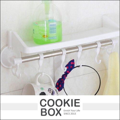 浴室 無痕 吸盤 單桿 強力 置物架 毛巾架 (隨機出貨) 掛勾架 浴巾 抹布 收納架 廚房 浴室 *餅乾盒子*
