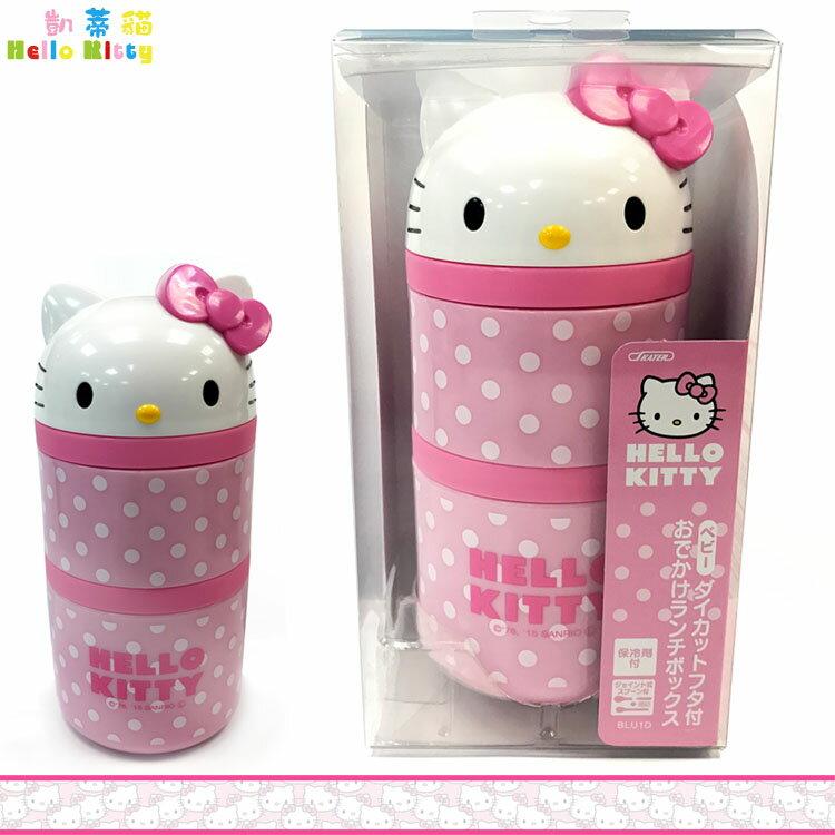 三麗鷗 凱蒂貓 Hello Kitty 立體頭雙層 便當盒保鮮盒飯盒野餐盒 附湯匙 日本進口正版 353925