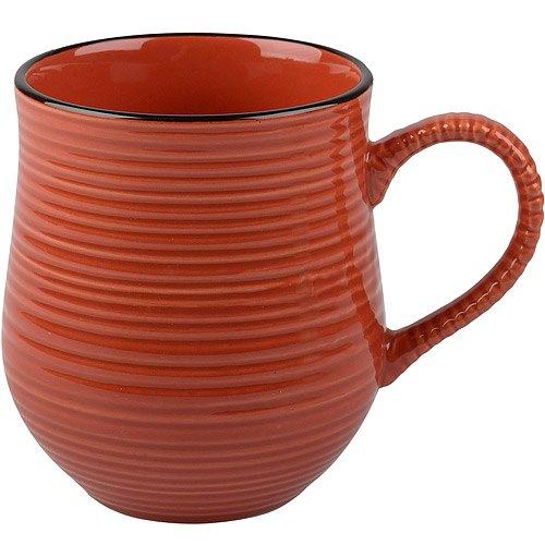 《CreativeTops》Cafetiere線紋圓肚馬克杯(紅500ml)