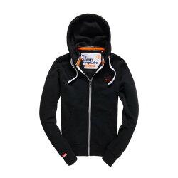 美國百分百【全新真品】Superdry 極度乾燥 連帽 外套 夾克 帽T 刷毛 拉鍊 經典款 黑色 黑字 M號 F842