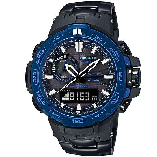 CASIO PRO TREK 登山錶 PRW-6000SYT-1旗艦天際藍登山雙顯黑鈦電波腕錶/黑藍52mm
