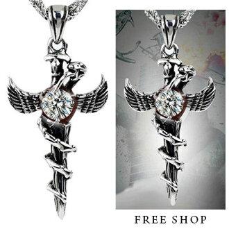 Free Shop【QTJXT15】日韓系街頭潮男雅痞風格時尚簡約潮流繞蛇翅膀十字架皮繩項鍊