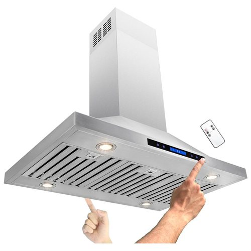 "36"" Stainless Steel Island Mount Dual LED Touch Control Panel Kitchen Range Hood w/ Remote 1"