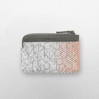 美國百分百【全新真品】Calvin Klein 零錢包 證件夾 皮夾 CK 皮革 logo 漸層 蜂窩橘白 H247