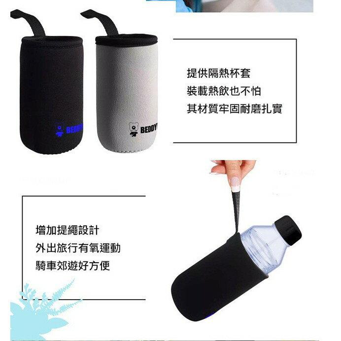 【韓國 BEDDY BEAR】炫彩花漾玻璃隨身瓶480ML附提袋(巴洛克)