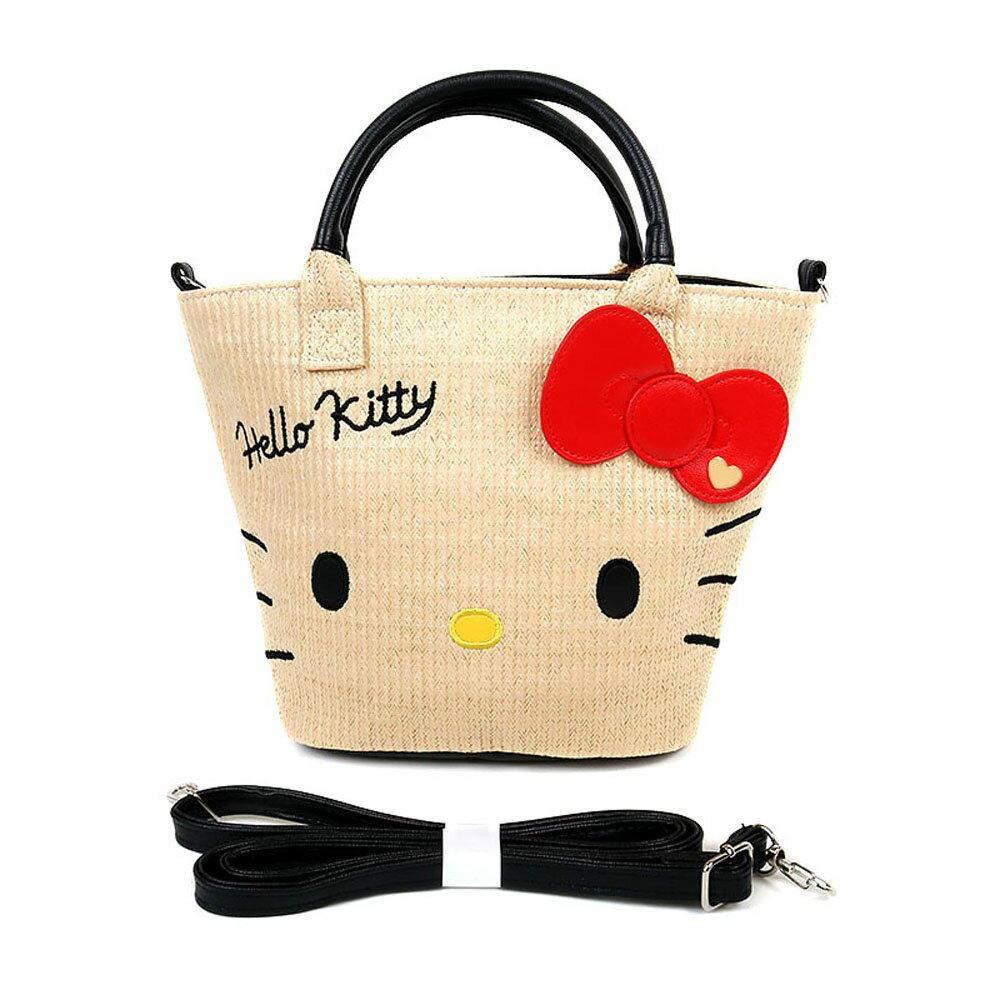 Hello Kitty夏日海灘風藤編手提斜背兩用海灘包/手提包/手提袋/斜背包