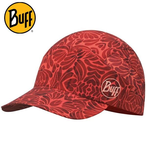 Buff可捲收健行帽高防曬抗UV軟式摺疊帽路跑馬拉松健行登山117219紅石榴花