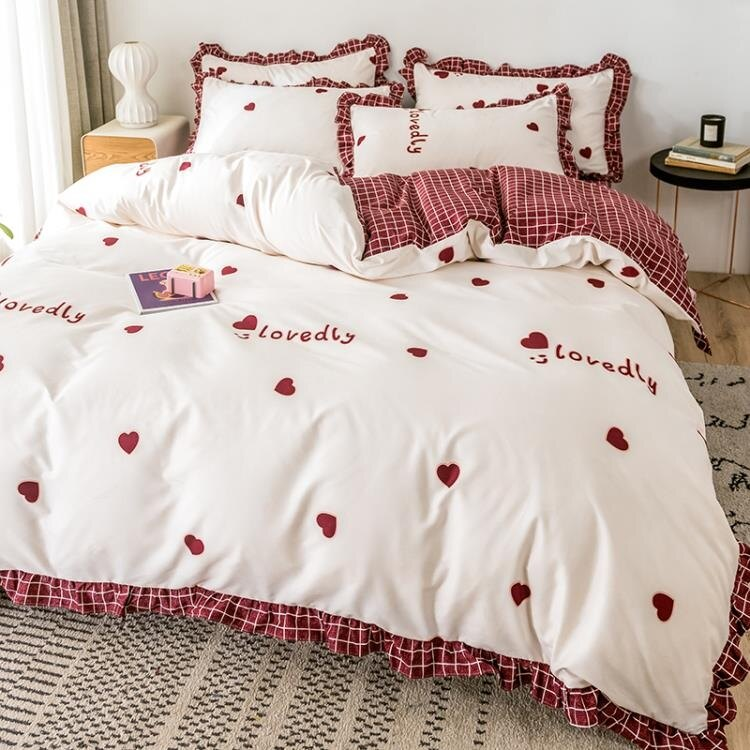 【快速出貨】床包組 公主風床上四件套ins北歐床單被套少女心床笠宿舍床上用品   七色堇 元旦 交換禮物