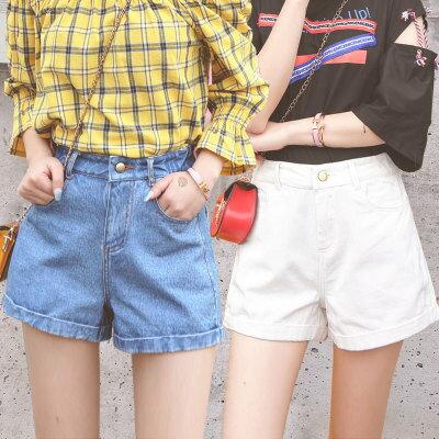 韓系女裝牛仔短褲直筒chic高腰闊腿熱褲樂天時尚館。預購