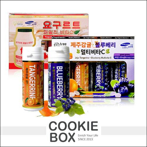 韓國TREEKOREA濟州島維他命C糖藍莓柑橘養樂多維他命C糖(單瓶)*餅乾盒子*