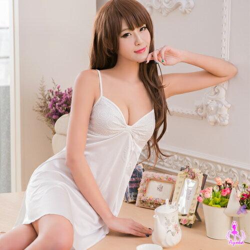 【情趣用品】性感睡衣奶白蕾絲柔緞睡衣