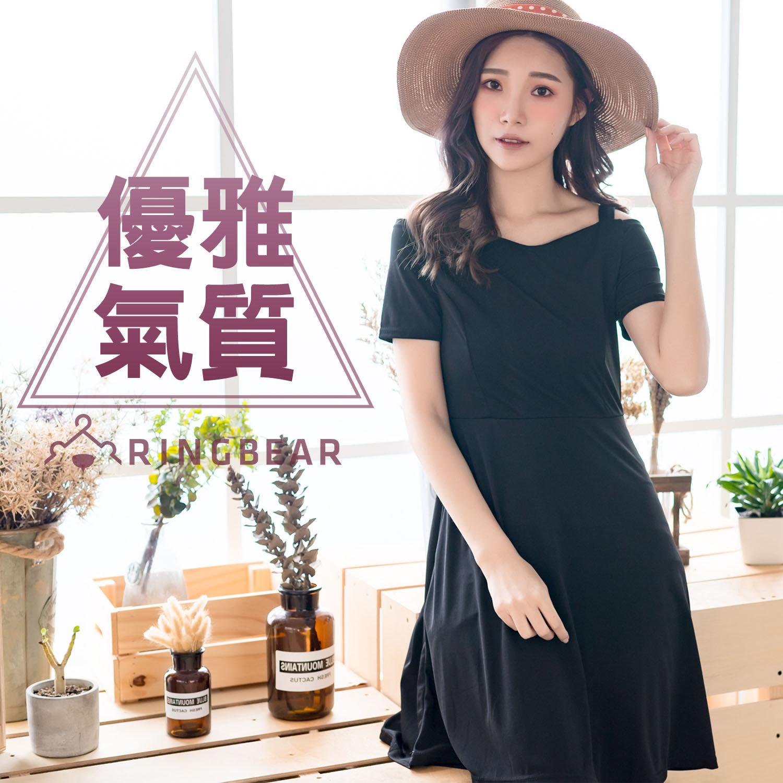 黑色洋裝--赫本式優雅性感微V領公主線挖肩短袖連身裙(黑XL-3L)-D443眼圈熊中大尺碼 0
