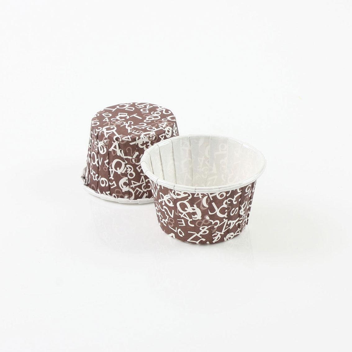 瑪芬杯、杯子蛋糕、捲口杯 PET3830-06 咖色字母(100pcs/包)